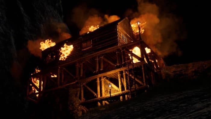 Hell lodert auf Icarus Feuer aus dem Dachstuhl. Hier kommt vermutlich jede Hilfe zu sät. Kleinere Brände kannst du noch löschen.